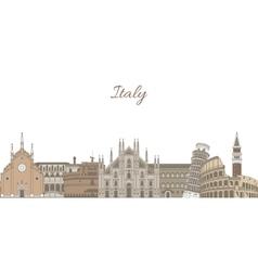 Template with famous Italian landmarks vector