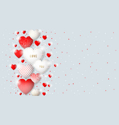 this is valentine s day background with hearts vector image