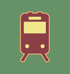 Train sign cordovan icon and mellow vector