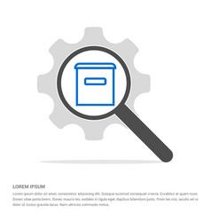 Trash icon search glass with gear symbol icon vector