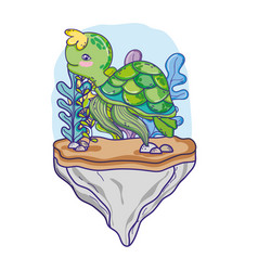 Turtle animal in the stone with seaweed plants vector