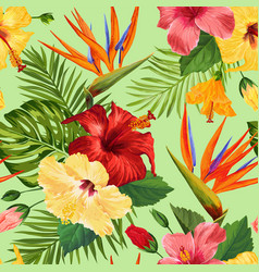Watercolor tropical flowers seamless pattern vector