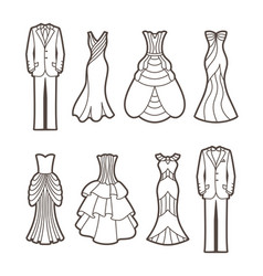 Wedding cut silhouettes vector