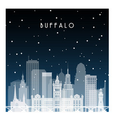winter night in buffalo night city in flat style vector image