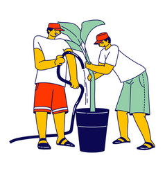 Workers watering palm trees on banana plantation vector