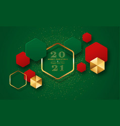 year 2021 gold 3d geometric card vector image
