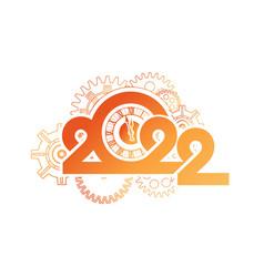 year digits 2022 mechanical logo vector image