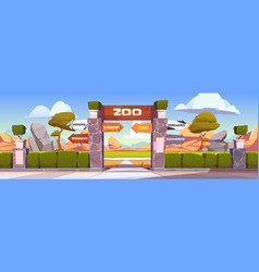Zoo gates with pointers to wild animals cages vector
