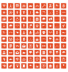 100 arrow icons set grunge orange vector image vector image