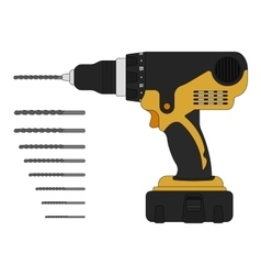 Electric drill and bits vector image vector image