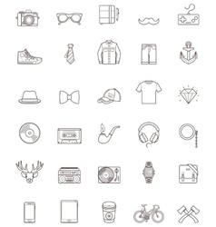 Hipster contour icon set vector image vector image