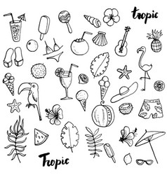 summer tropical beach doodle set vector image
