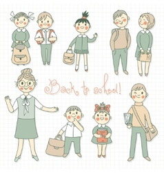 The teacher with the students Back to school vector image