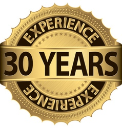 30 years experience golden label with ribbon vector image vector image