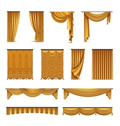 Golden Curtains Drapery Realistic Icons Collection vector image vector image