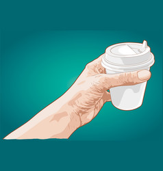hand holding paper cup of coffee vector image