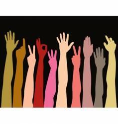 Hands of all races vector