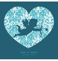Light blue swirls damask shooting cupid silhouette vector