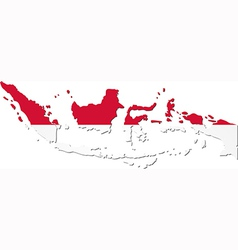 Map of Indonesia with national flag vector image vector image