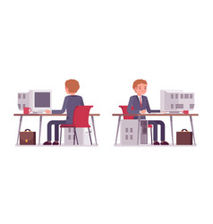young businessman working at the computer rear vector image