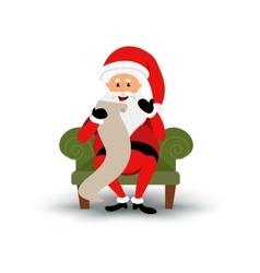Christmas smiling Santa Claus character sitting on vector image vector image