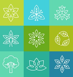 ecology and organic logos in outline style vector image