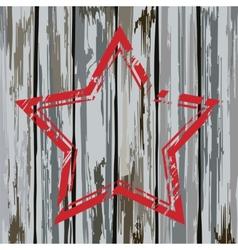 Grunge old wooden fence star frame vector image vector image