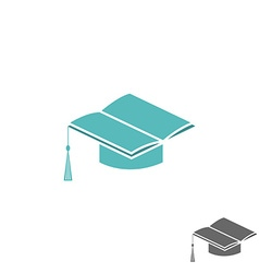 Mortarboard square academic cap and book logo vector image vector image