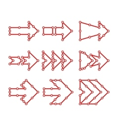 Arrows in the form of lines dots connected vector image vector image