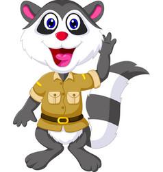 funny raccoon cartoon waving vector image