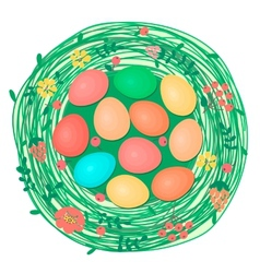 Happy Easter card with colored eggs in nest vector image vector image