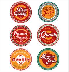 mexican design retro vintage labels collection vector image vector image