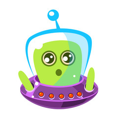 naive and surprised green alien in a flying saucer vector image