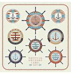 Nautical anchors label set 03 vector image vector image