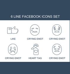 6 facebook icons vector
