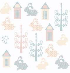 abstract bunny seamless pattern it is located in vector image