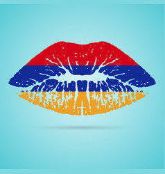armenia flag lipstick on the lips isolated on a vector image