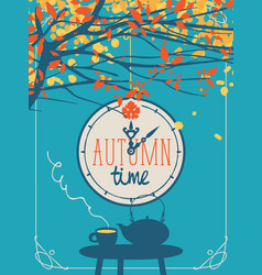 autumn banner with cup and kettle on table vector image