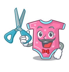 Barber character baby clothes hanging on vector