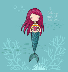 beautiful little mermaid siren sea theme vector image