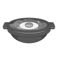 Bibimbap korean dish icon gray monochrome style vector