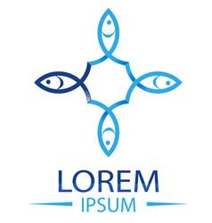 blue fish logo template creative symbol vector image
