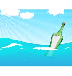 Bottle with help message vector image