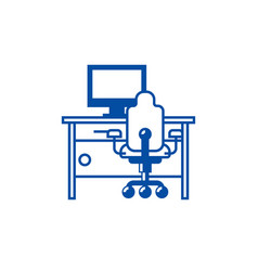 cabinethome desk with pc and office chair line vector image