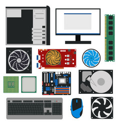 Cartoon pc components for computer store set vector