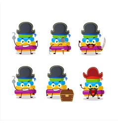 Cartoon pyramid block toys with various pirates vector