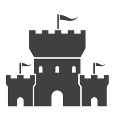 castle black icon tower with waving flags vector image