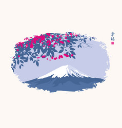 Chinese landscape with flowering tree and mount vector