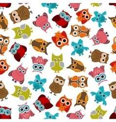 Colorful owls birds seamless pattern vector