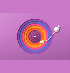 colorful paper cutout vinyl music record player vector image